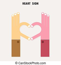 Creative hand sign and heart abstract vector logo design. Hand Heart shape symbol. Teamwork, team, partner, partnership, cooperation, harmony, unity, success, achievement, meeting, love and business creative logotype concept.