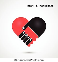 Creative handshake and heart abstract vector logo design. Handshake Heart symbol. Teamwork, team, partner, partnership, cooperation, harmony, unity, success, achievement, meeting and business creative logotype concept.