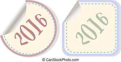 creative happy new year 2016 design. Flat design. button
