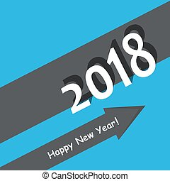 creative happy new year 2018 design. Flat design with...