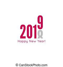 Creative happy new year 2019 design card. Vector illustration.