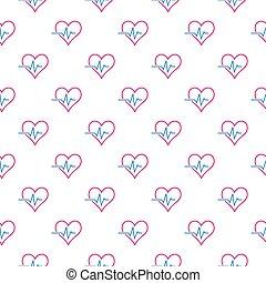 Creative heartbeat or cardiac cycle seamless vector pattern