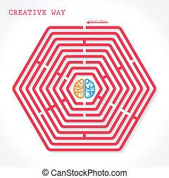 Creative hexagon maze way concept