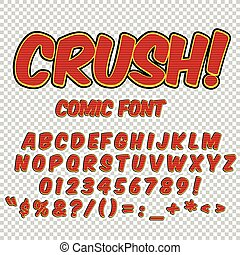 Creative high detail comic font. Alphabet in style of comics, pop art. Letters and figures for decoration of kids