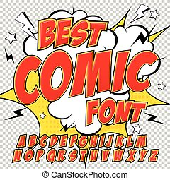 Creative high detail comic font. Alphabet in the red style ...