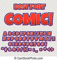 Creative high detail comic font. Alphabet of comics, pop art...