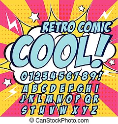 Creative high detail comic font. Blue color hero style of...