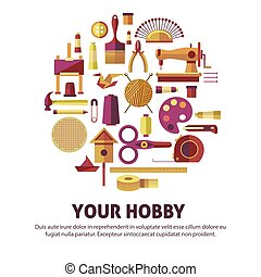 Creative hobby of art and DIY vector poster