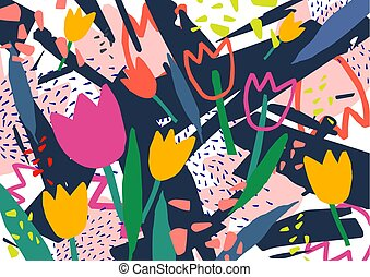Creative horizontal backdrop with tulip flowers and colorful...