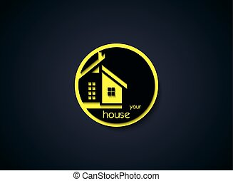 Creative House Icon on round button. Vector Illustration