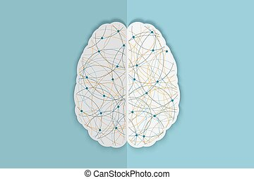Creative brain background, illustration of the complexity of the process of human thinking