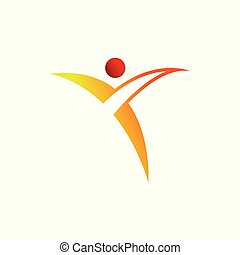 Creative Human Figure Swoosh Symbol