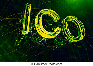 Creative ICO backdrop. Initial coin offering and ...