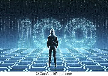 Creative ICO background - Hacker on creative glowing ICO ...