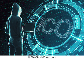 Creative ICO background - Hacker with laptop standing on ...