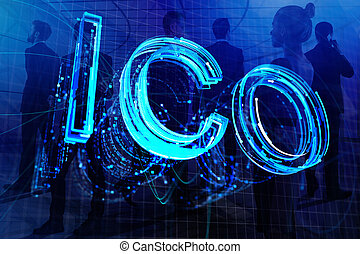 Creative ICO background. Initial coin offering and ...