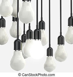 creative idea and leadership concept light bulb on grey background
