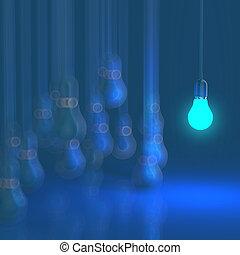 creative idea and leadership concept light bulb on grey backgrou