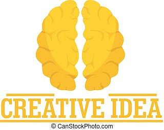 Creative idea brain logo, flat style