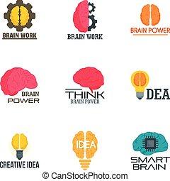 Creative idea brain logo set, flat style