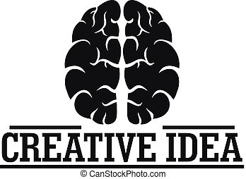 Creative idea brain logo, simple style