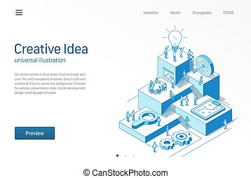 Creative Idea. Business people office teamwork. Innovative modern isometric line illustration. Brainstorm process, inspire, star up strategy icon. Growth step infographic concept