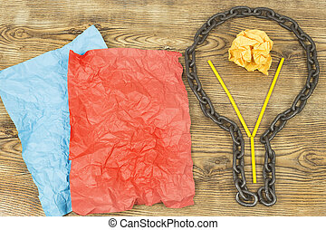 creative idea. Chain in form of bulb. Concept of idea and innovation with paper ball