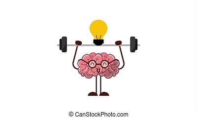 cartoon human brain practicing exercise creativity idea animation