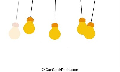 creative idea concept - hanging light bulbs turned off and...