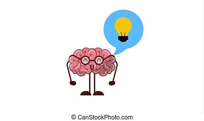 creative idea concept - kawaii brain talking creativity idea...