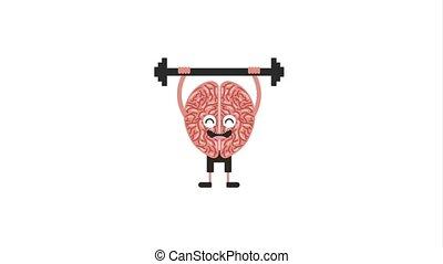creative idea concept - kawaii human brain training lifting...
