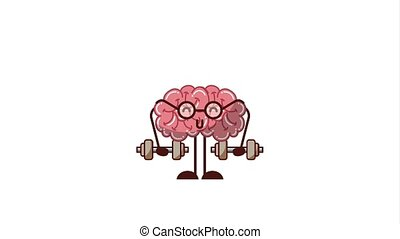 creative idea concept - kawaii strong brain with glasses...