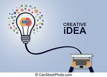 creative idea concept. light bulb brain icon. business finance. Vector illustration