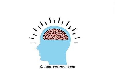 creative idea concept - silhouette man brain innovation...