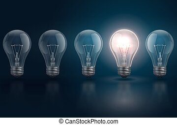 Creative idea concept with light bulbs and one of them is...
