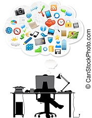 Creative idea concept - working man behind computer