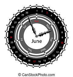 Creative idea of design of a Clock with circular calendar for 2012. Arrows indicate the day of the week and date. June