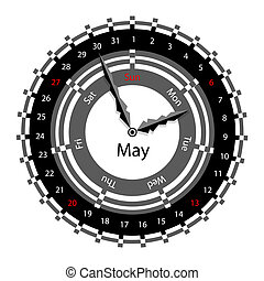 Creative idea of design of a Clock with circular calendar for 2012. Arrows indicate the day of the week and date. May