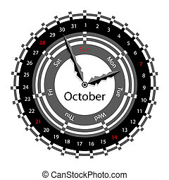 Creative idea of design of a Clock with circular calendar for 2012. Arrows indicate the day of the week and date. October