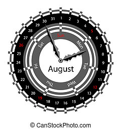 Creative idea of design of a Clock with circular calendar for 2012. Arrows indicate the day of the week and date. August