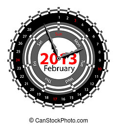 Creative idea of design of a Clock with circular calendar for 2013.  Arrows indicate the day of the week and date. February