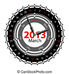 Creative idea of design of a Clock with circular calendar for 2013.  Arrows indicate the day of the week and date. March