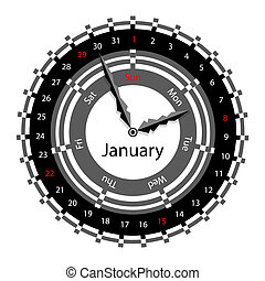 Creative idea of design of a Clock with circular calendar for 2012.  Arrows indicate the day of the week and date. January