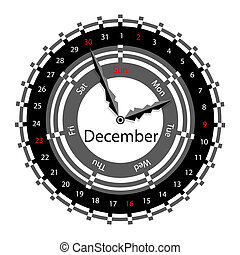 Creative idea of design of a Clock with circular calendar for 2012.  Arrows indicate the day of the week and date. December