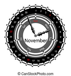 Creative idea of design of a Clock with circular calendar for 2012.  Arrows indicate the day of the week and date. November