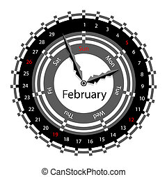 Creative idea of design of a Clock with circular calendar for 2012.  Arrows indicate the day of the week and date. February