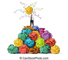 Creative idea - Businessman with a creative idea in hand