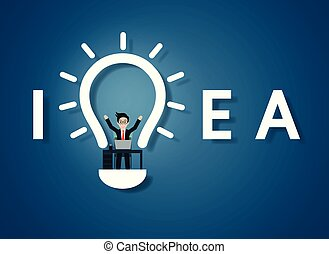 Creative idea text light bulb icon. on blue background. businessman in workspace sit at the desks with computer with lamp decoration over his head one person. logo. vector illustration