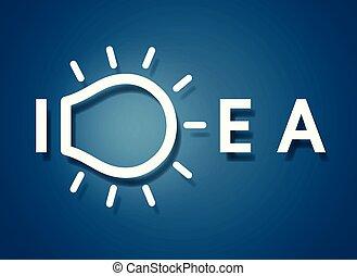 Creative idea text light bulb icon. on blue background. logo. vector illustration