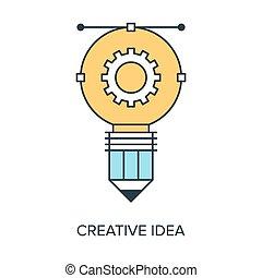 Vector illustration of creative idea flat line design concept.